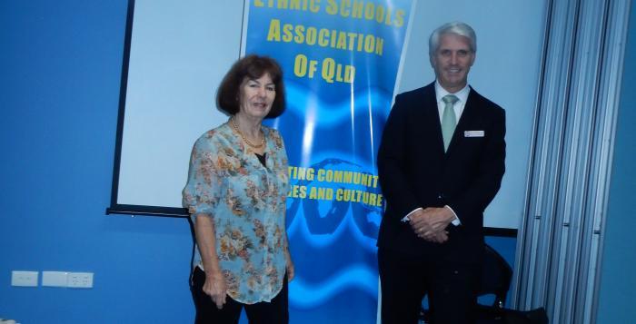Irene Tavutavu, President, ESAQ and Joe Kelly, MP for Greenslopes
